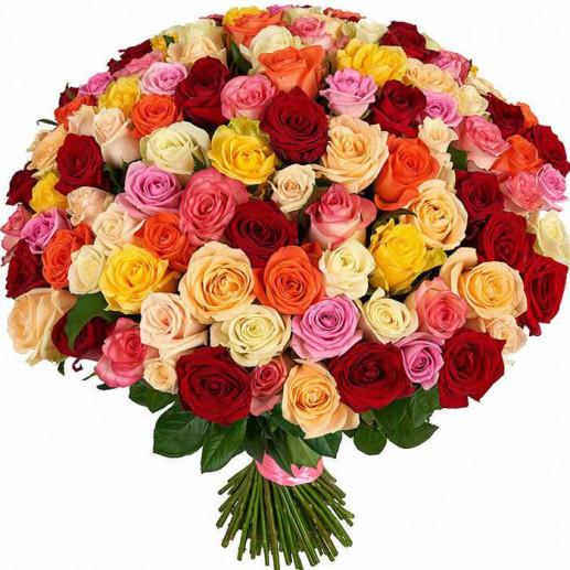 Разноцветные европейские розы - 5500 рублей