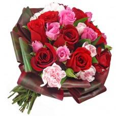 """Букет из 21 разноцветной розы """"Фьюжн"""""""