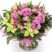 """Букет из орхидей, альстромерий и роз """"Летнее утро"""""""