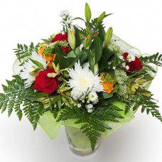 """Букет из лилий, хризантем, роз и альстромерий """"Айвенго"""""""