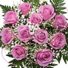 """Букет из 11розовых роз и гипсофилы """"Талисман"""""""