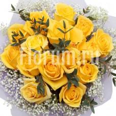 """Букет из 15 желтых роз """"Улыбка Сфинкса"""""""