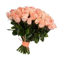 """Букет из 25 персиковых роз """"Персиковое облако"""""""
