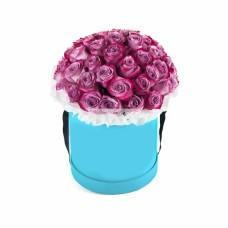 """25 фиолетовых роз в в шляпной коробке """"Алиса"""""""