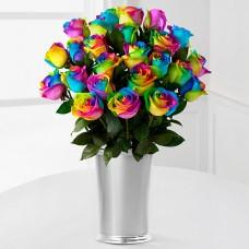 """Букет 25 радужных роз """"Бонни"""" в декоративном ведерке"""