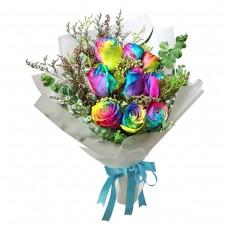 """9 разноцветных роз в букете """"Радуга"""""""
