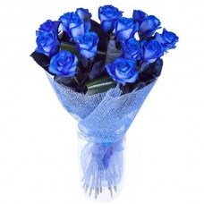 """15 синих роз в букете """"Лазурь"""""""