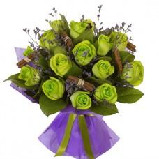 """Букет 15 зеленых роз """"Поли"""""""