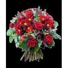 """Букет из хризантем и роз """"Карнавал"""""""