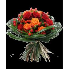 """Букет из красных и оранжевых роз """"Фьюжн"""""""