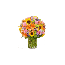 Букет подсолнухов и роз с лилиями