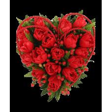 """Сердце из красных тюльпанов """"Для тебя"""""""