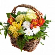 """Корзина из роз, хризантем и альстромерий """"Встреча"""""""