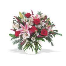 """Букет из роз, лилий и альстромерий """"Зимнее утро"""""""