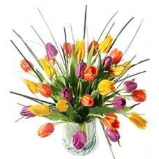 Букет из 31 разноцветного тюльпана