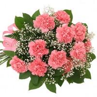 Букет из 11 нежно-розовых гвоздик