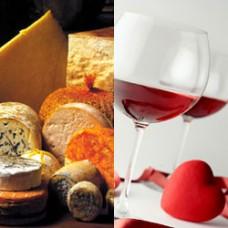 Подарочный набор из Бутылки вина и корзинки сыров