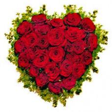 """Цветочное сердце из красных роз """"Страстное сердце"""""""