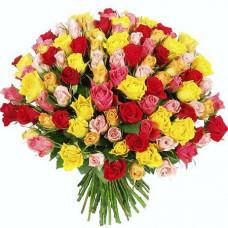 Букет из 101 разноцветной элитной розы
