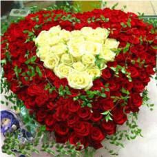"""Цветочное сердце из 95 красных и белых роз """"Моей Любимой"""""""