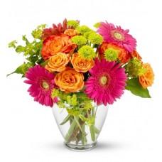 Букет из гербер, роз и хризантем