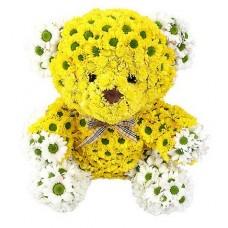 """Игрушка из цветов с хризантемами """"Медведь"""""""