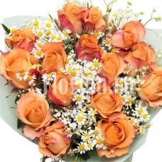 Букет из 15 персиковых роз Версилия