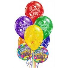 """Композиция из 7 латексных и 2 фольгированных шаров """"Birthday Wishes"""""""