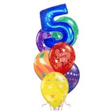 """Композиция из 6 латексных шаров и 1 фольгированного шара цифры """"Happy Birthday"""""""