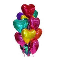 """Композиция из 11 фольгированных шаров """"Букет сердец"""""""
